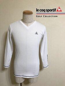 【美品】 le coq sportif GOLF COLLECTION ルコック ゴルフ Vネック ボーダー インナー ウェア Tシャツ トップス ホワイト サイズM 長袖 白
