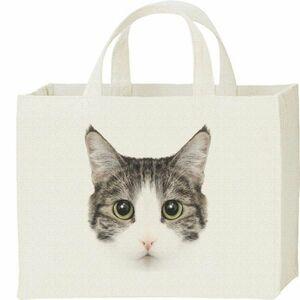 ミックス猫の顔(サバトラ白/雑種)/キャンバスバッグ・スクエア・新品・メール便 送料無料