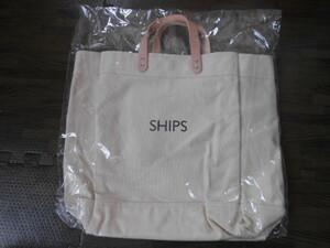 ◆SHIPS◆新品未使用シップスのキャンバス×レザーのトートバッグ 送料510円