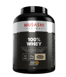 MUSASHI(ムサシ)100% ホエイプロテイン アドバンス WPC/WPI バニラ ミルクシェイク【大:2kg】 天然の消化エンザイム パパイン入
