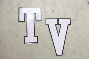 スクーターシンボルズ ステッカー ホワイト 2枚 セット ランブレッタ LAMBRETTA TV 新品 デッドストック