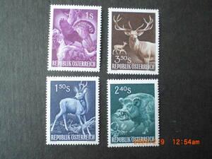 国際狩猟会議記念ーノロジカ他 4種完 未使用 1959年 オーストリア共和国 VF/NH