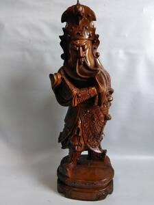 木彫り 戦神 関羽像 全高61センチ