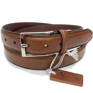 イタリアンレザー メンズ本革ベルト 茶 牛革 ビジネスベルト 3cm巾 KHB-08BR