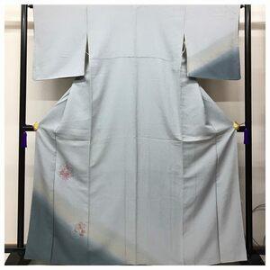 スワトウ 花模様 刺繍 訪問着 特選 正絹 裄64.5 身丈165 紋無 ブルーグレー
