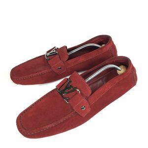 【ルイヴィトン】本物 LOUIS VUITTON 靴 27cm 赤 モンテカルロ ドライビングシューズ スリッポン ビジネス スエード メンズ 伊製 8 1/2 M