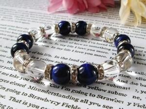Power Stone 10 мм кристалл × синий тигр глаз мужские женские натуральный камень браслет серебряный лондль внутренний 16 см