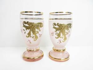 極美品◆絵柄グラス 桜 金色 金彩 薄ピンク 上品 2客セット 管2002 L-8