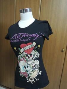 Ed Hardy エドハーディー レディース トリプル スカル プラチナム ラインストーン Tシャツ 黒 XS