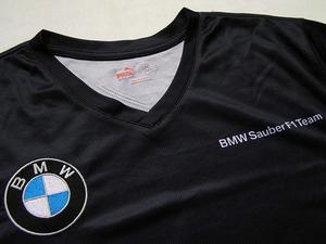 【支給品】`09 BMWザウバー F1.09 Vネック メッシュ半袖Tシャツ PUMA プーマ クビサ ハイドフェルド 速乾 メンズ サイズL XL 濃紺 新品同様