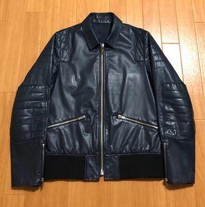 undercover 11aw mirror期 レザーパット シングル ライダースジャケット シルバージップ エルボーパッチ 定価126000円 裾リブ切替 革ジャン