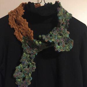 ハンドメイド 手編みマフラー