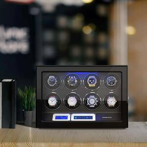 ワインディングマシーン 腕時計自動巻き器 ウォッチワインダー 8本巻き上げLEDライト付き 超静音 高級n500