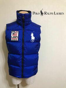 Polo Ralph Lauren ポロ ラルフローレン ビッグポニー ナイロン ダウンベスト ワッペン サイズS 170/92A ブルー ダウン フェザー