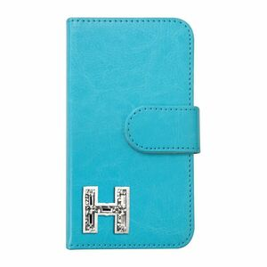 Xperia X Compact SO-02J PUレザー 手帳型 ケース ブルー イニシャルH おしゃれ