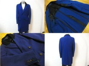 名作 本物 超高級 最高峰 超美品 GIORGIO ARMANI ジョルジオアルマーニ ダブル ロング コート ブルー 黒ラベル ブラックラベル 黒タグ 48
