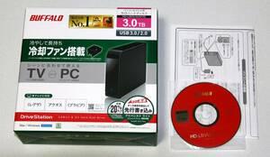 送料込み! バッファロー3TB USB3.0 外付けハードディスク 冷却ファン搭載 HD-LBV3.0U3/YD