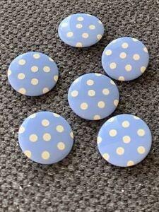 6個セット ボタン ハンドメイド リメイク 手作り ノスタルジック 70's 子供 コレクター 入学 入園準備 昭和レトロ 青 ブルー 水玉 シンプル