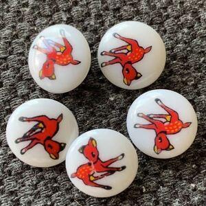 5個セット ボタン ハンドメイド ノスタルジック 昭和レトロ コレクター ヴィンテージ デッドストック 80's 入園入学準備 手作り バンビ