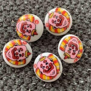 5個セット デットストック ボタン ハンドメイド リメイク 手作り ノスタルジック 70's 子供 昭和レトロ コレクション 入学 入園準備 ピエロ