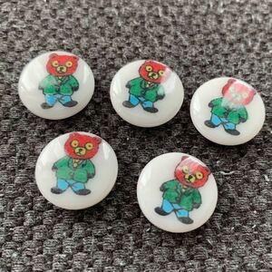 5個セット デットストック ボタン ハンドメイド リメイク 手作り ノスタルジック 70's 子供 キッズ コレクター 入学 入園準備 昭和レトロ