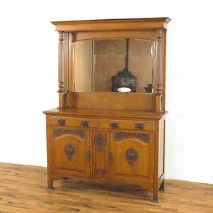 大きな鏡のミラーバックキャビネット☆1910年頃イギリス アーツアンドクラフツ アンティークサイドボード 42491