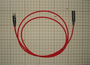 K702用リケーブル 3.5mmステレオミニジャック変換 モガミ2944 1.3M 赤色メッシュスリーブ クリックポスト送料込