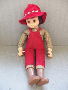 200222a【JAPAN刻印有 スリープアイ 脚長人形】ボーイッシュな女の子/全長57cm程/中古品/赤いオーバーオールに帽子/昭和レトロ