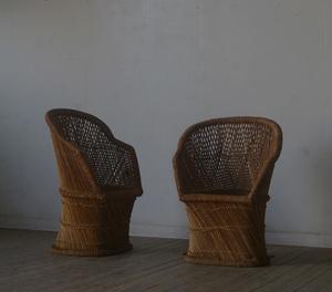 【古い椅子2脚】アンティーク店舗ギャラリーカフェ什器エキパルチェアオブジェ籐竹バンブースツールソファテーブル机ブロカントメキシコ