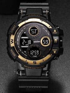 2020 スポーツウォッチ 50M防水 LED アウトドア 登山 サーフィン ミリタリー アーミー ビッグダイヤル 腕時計 イエロー s0054