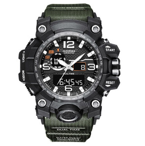最新 スポーツ ウォッチ 50m防水 LED アウトドア ミリタリー 登山 海 デジタル 腕時計 ギフト アナログ 衝撃 アーミーグリーン s0046