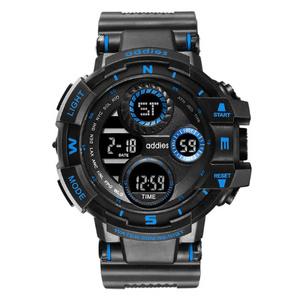 2020 スポーツウォッチ 50M防水 LED アウトドア 登山 サーフィン ミリタリー アーミー ビッグダイヤル 腕時計 ブルー s0052