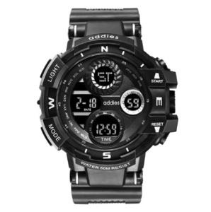 2020 スポーツウォッチ 50M防水 LED アウトドア 登山 サーフィン ミリタリー アーミー ビッグダイヤル 腕時計 ブラック s0053
