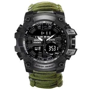 2020 最新 ミリタリー アーミー ウォッチ コンパス 50M防水 LED 軍隊 登山 海 アウトドア デジタル腕時計 スポーツ 衝撃 グリーン s0044