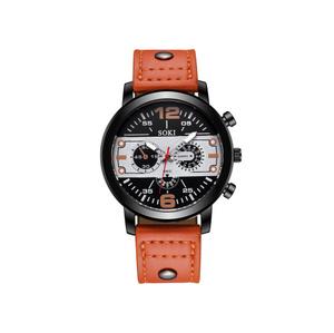 【f0096】1円~ ヴィンテージクォーツ 時計 男性 腕時計 トップブランド オレンジ