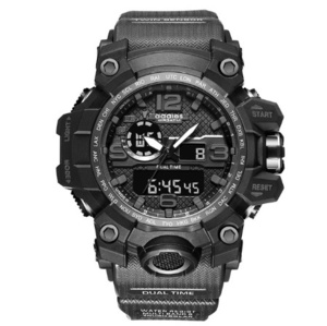 最新 スポーツ ウォッチ 50m防水 アウトドア ミリタリー 登山 海 デジタル 腕時計 ギフト アナログ 衝撃 ブラック s0050