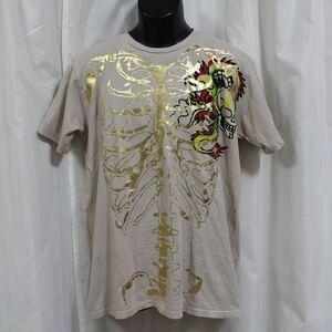 エドハーディー ED HARDY メンズ半袖Tシャツ Mサイズ カーキ 新品