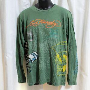 エドハーディー ED HARDY メンズ長袖Tシャツ グリーン Sサイズ NO5 新品