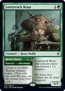 え緑 恋煩いの野獣 1枚(4枚在庫s 英 良品 ELD)/Lovestruck Beast(MTG /エルドレインの王権/Throne of Eldraine/切なる想い/Heart's Desi