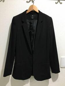 新品 H&M ジャケット スーツ アウター 黒 ブラック コート テーラードジャケット