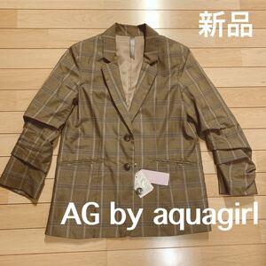 テーラード ジャケット アクアガール チェック aquagirl スペアボタン付