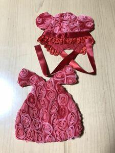 ドール用#薔薇模様の#耳付き帽子&ドレス用セット