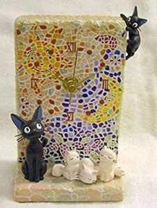 魔女の宅急便 ジジモザイク画  ジオラマ 置時計 ジジ 子猫 スタジオジブリ 陶器 置物