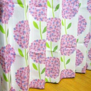 形状記憶 厚地プリント 花柄 2級 遮光カーテン2枚組 幅100×丈200cm Hortancia-100-200PI ユニベール