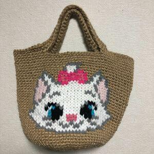 麻紐バッグ ハンドメイド  白ネコ