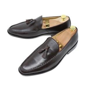 ハンドメイド 25.5cm 本革 スムース タッセル ローファー スリッポン マッケイ製法 ビジネスシューズ ダークブラウン 茶 靴 200
