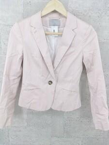◇ H&M エイチ&エム シングル 1B 長袖 テーラード ジャケット EUR 34 US 4 ピンク * 1002799676663