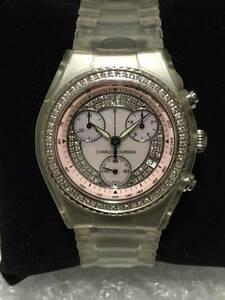 シャルルジョルダン センセーション ダイヤベゼル&ダイヤ文字盤 クロノグラフ USED品 ピンク