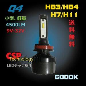 爆光!LEDバルブ激安販売、送料無料。 小型軽量、4500ルーメン、強制空冷、9V-32V。 Q4-H11