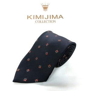 ●KIMIJIMA/キミジマ●小紋柄 シルク ネクタイ 日本製/濃紺系[HX1715